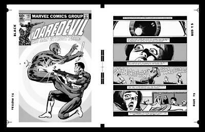 Frank Miller Daredevil #183 Cover And Pg 1 Rare Large Production Art