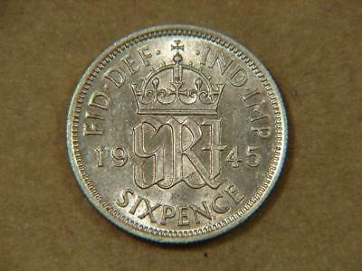 1945 Great Britain 6 Pence Silver Coin