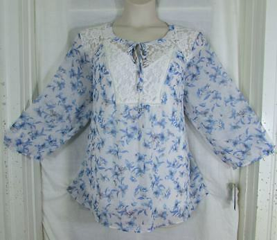 Zac & Rachel Lovely Romantic Blues White Floral with Lace 2 Piece Set 3X NWT