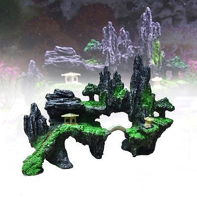 Aquarium Ornament Mountain View Rockery Cave Fish Tank Decoration Landscape B MT
