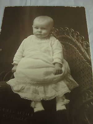 Vintage Antique Photograph Small Baby In White
