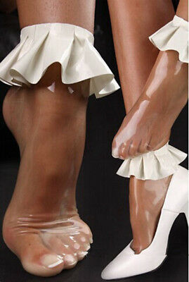 100% Latex  sexy Rubber short Socks lace  Sock Transparent white  Size S-XL