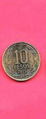 Chile Chliean Km228.2 2015 Unc-Uncirculated Mint New 10 Peso Coin