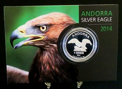 Andorra 2014 Silver Eagle 1 Diner 1 Unze Silber in Coin Card ST / BU