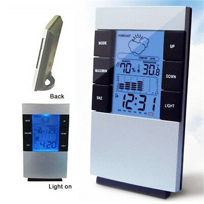 Digital LCD Indoor Thermometer Alarm Clock Time Temperature Humidity Weather Hot