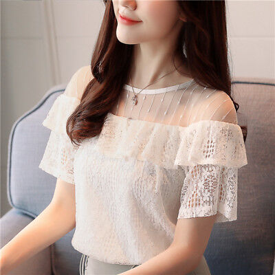 cc97d1c06 Womens Hollow Crochet Lace Chiffon Blouse Flounce Short Sleeve Casual Shirt  Tops