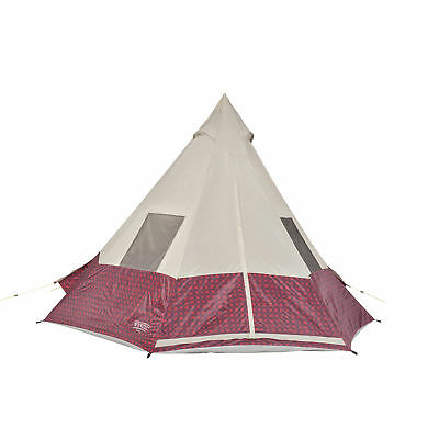 Wenzel 11.5 x 10 Shenanigan Large 5 Person Trail Camping Teepee Tent, Red Plaid