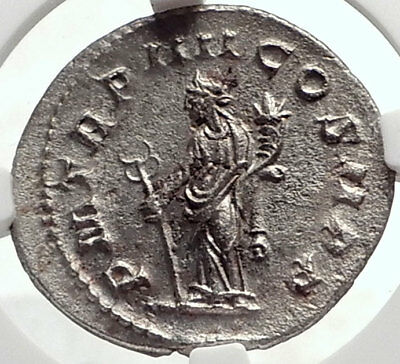 PHILIP I the Arab Authentic Ancient 244AD Silver Roman Coin FELICITAS NGC i69074