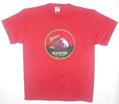 Nipper & Phonograph Red T-Shirts large size Edison Made in USA NOS