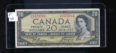 1954 Bank of Canada $20 Devil's Face Beattie Coyne F or better BL3620