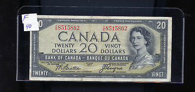 1954 Bank of Canada $20 Devil's Face Beattie Coyne F or better BL3623