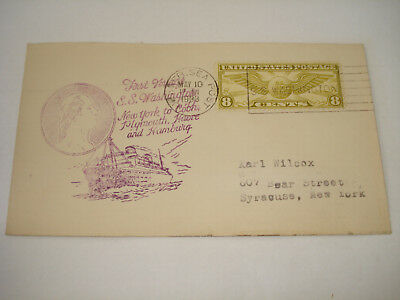 SS WASHINGTON US United States Lines 1933 1st voyage COVER Cobn HAVRE Hamburg UK