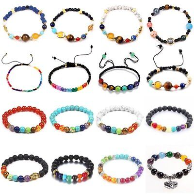 Natural Lava Stones Agate Braided Macrame Buddha Bead Wrap Bracelet Bangle Women
