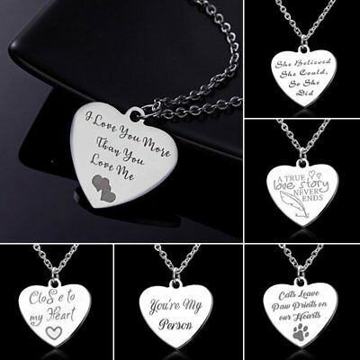 Stainless Steel Engraved Custom Heart Love Letter Pendant Necklace Women Jewelry