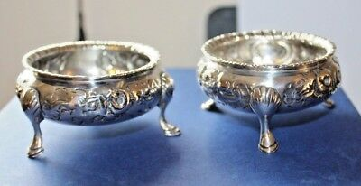 Antique Pair Of Silver Salts Heavy Gauge Full Hallmarks For 1863 Robert Harper