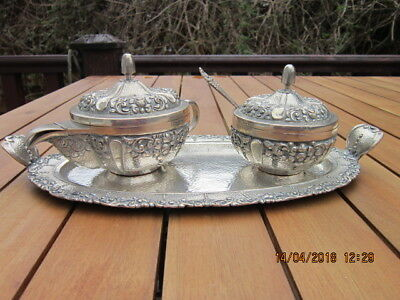 Antique Chased 800 Silver 3 Piece Tea Set on Tray