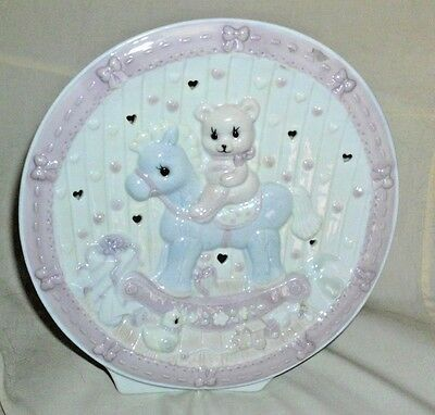 Adorable ceramic night light/lamp with bear rocking horse unopened light & cord