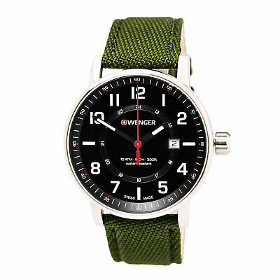 Wenger 01.0341.107 Gent's Attitude Black Dial Green Band Watch