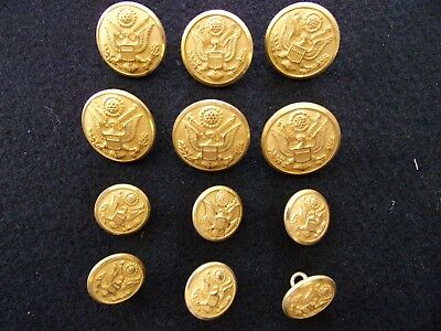 """12 Gold Waterbury Eagle US Seal Military Uniform Buttons 7/8"""" and  5/8"""" Swank"""