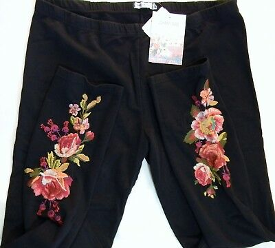 Nwt Johnny Was Embroidered Floral Malui Leggings Pants Black Floral Sz L Large