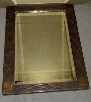 Antique  Arts & Crafts Wooden Carved  Rectangular Bevelled Mirror
