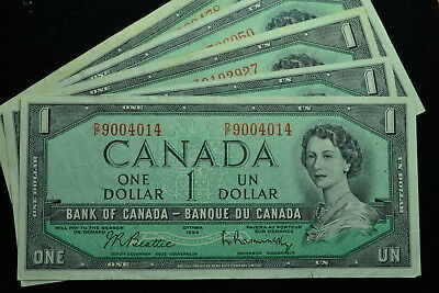 5 Notes 1954 $1 Bank Note of Canada Circulated VF/EF.