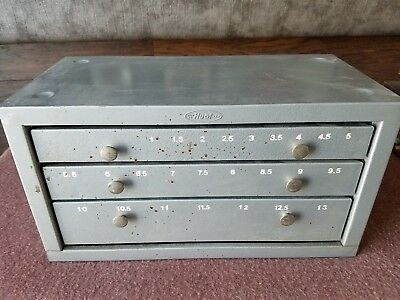 Vintage 3 Drawer Huot Drill Bit Index Storage Parts Hardware Cabinet Box Chest
