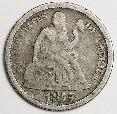 "1875-s Liberty Seated Dime.  Micro ""s"" mint mark.  Good.  105886"