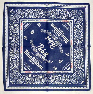 Pabst Blue Ribbon Beer PBR Navy Bandana 22x22 Hankerchief