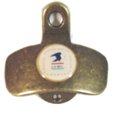 Antique Brass Finish Wall Bottle Cap Opener Usps Us Postal Service Logo New
