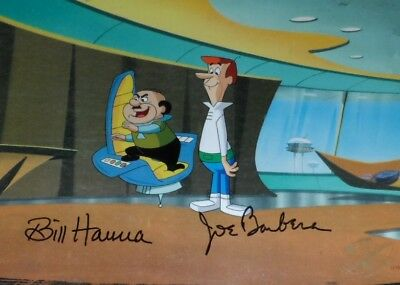Hanna Barbera The Jetsons George and Mr. Spacely Original Production Cel Signed!