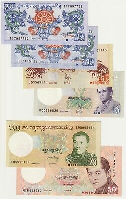 Bhutan 2006-2015 Issue Set P-27 through P-31 UNC