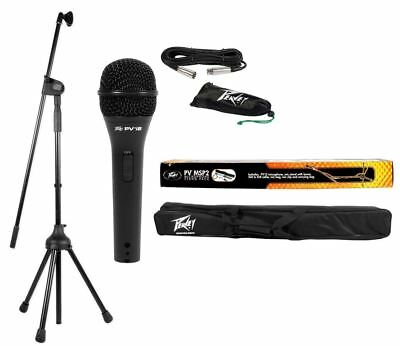 Peavey MSP2 PV Series Microphone + Mic Cable + Clip + Stand  w/ Carry Bag