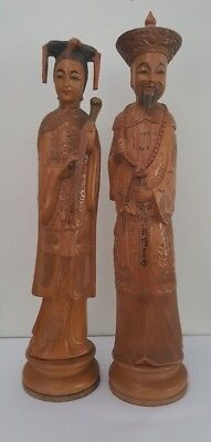 Finely Carved Chinese Emperor & Empress Wood Statues / Figurines - 36cm
