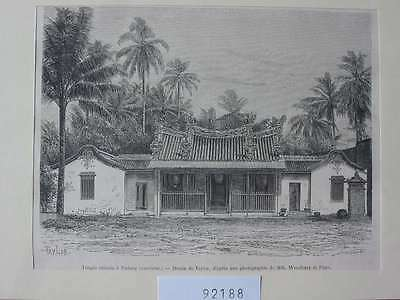 92188-Indonesien-Indonesia-Sumatra-Temple Padang-T Holzstich-Wood engraving