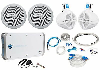 """(2) Rockville RMC80S 8"""" Marine Boat Speakers+(2) 8"""" Wakeboards+4-Ch Amp+Wire Kit"""