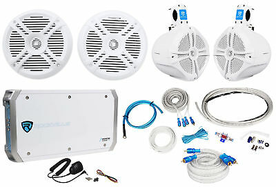 """2) Rockville RMSTS65W 6.5"""" Marine Boat Speakers+2) 8"""" Wakeboards+Amp+Wire Kit"""