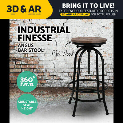 Artiss 1x Kitchen Bar Stools Vintage Bar Stool Retro Industrial Swivel Chairs