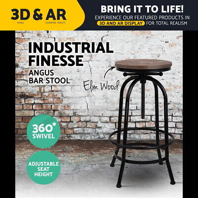 Rustic Bar Stools Angus Retro Barstool Industrial Dining Chairs Kitchen Round