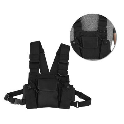 Nylon Radio Chest Harness Front Pack Pouch Holster for Two Way Walkie Talkie DH