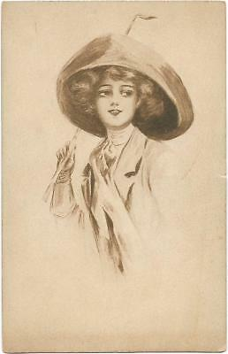 1910 Lady of Fashion Vintage Post Card