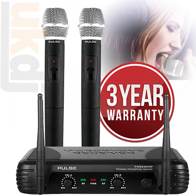 PWM200 VHF Wireless Radio Microphone System Twin Handheld Mic Kit KWM11 Karaoke