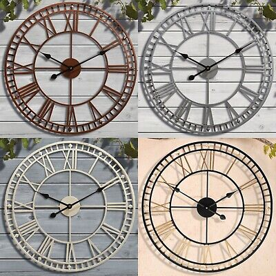 Giant Garden Wall Clock Roman Numeral Metal Outdoor Large Round Face 60cm NEW