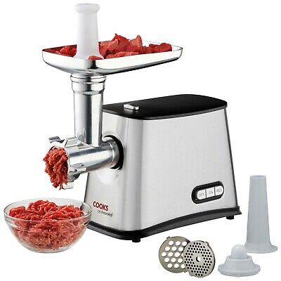 Electric Meat Mincer Grinder Sausage Make Multi Cutting Blades 1200W COOKS - New