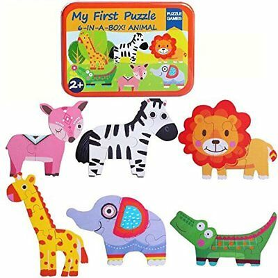 Puzzle Games 6-In-A-Box! My First Animal Puzzle Set Wooden Jigsaw Puzzles For Bo