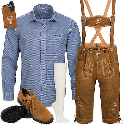 Traditional Costume Set Men's Leather Trousers with Uniform Strap Shirt Shoes