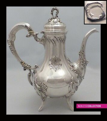 LARGE ANTIQUE 1880s FRENCH ALL STERLING SILVER COFFEE/TEA POT 23.3 oz 10.51 in.