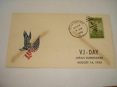 WW II Patriotic Military 1945 COVER Evanston IL VJ Day Victory over Japan AUGUST