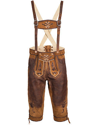 Men's Leather Trousers with Suspender Knee-Breeches Uniform Size 46 - 60
