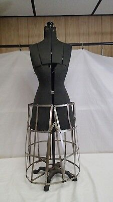 ANTIQUE MANNEQUIN SEWING DRESS FORM Grand Rapids Michigan metal cage skirt